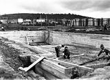 Picture relating to Manuka - titled 'Manuka swimming pool under construction, December 1929.'
