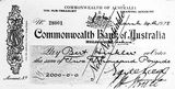 Picture relating to Page - titled 'Cheque for 2000 pounds presented to Bert Hinkler, signed by Earle Page, Treasurer and Hon. S. M. Bruce, Prime Minister.'