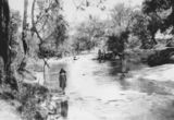 Picture relating to Lockyer Creek - titled 'Children from the Brunnich family wading in the shallows of Lockyer Creek, Gatton, Queensland, 1901'