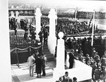 Picture of / about 'Parliament House' the Australian Capital Territory - Royal Visit, May 1927 - Troops, spectators and Army Band outside Old Parliament House and official guests.
