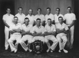 Picture relating to Rathdowney - titled 'Rathdowney cricket club team photographed with premiership shield, 1950'