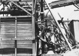 Picture relating to Mugga Quarry - titled 'Stone crushing plant at Mugga Quarry. Bins for crushed rock.'