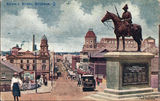 Picture relating to Brisbane - titled 'Colour image of view down Edward Street, Brisbane, past the South African War Memorial, ca. 1920'