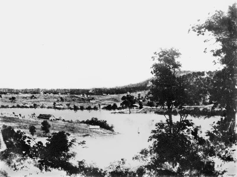 Picture of / about 'Brisbane' Queensland - Brisbane views from Bowen Terrace looking across Kangaroo Point, 1851
