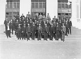 Picture relating to Parliament House - titled 'Old Parliament House staff on the front steps of Old Parliament House'