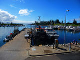 Picture relating to Bermagui South - titled 'Looking from Bermagui South across wharf and out towards the Bermagui River estuary'