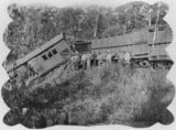Picture relating to Eudlo - titled 'Derailed goods train at Eudlo, 1914'