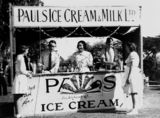 Picture of / about 'Brisbane' Queensland - Group of men and women working from a Pauls Ice Cream and Milk stall in Brisbane