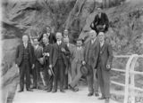 Picture relating to Cotter Dam - titled 'Visit of Ballarat Water Commission officials. At the top of the Cotter Dam Wall.'