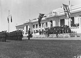 Picture of / about 'Parliament House' the Australian Capital Territory - Armistice Day -Spectators on the steps of Old Parliament House with Naval Guard of Honour