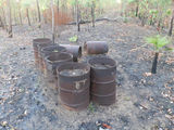 Picture relating to Fenton Airfield - titled 'Old Fuel drums from Wartime Fenton Airfield NT'
