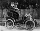 Picture relating to Ipswich - titled 'Out driving in an early Linon motor car in Ipswich.'