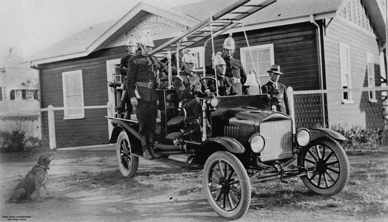 Picture of / about 'Sandgate' Queensland - Members of the Sandgate Fire-Brigade outside the station building, Sandgate