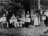 Picture relating to Mackay - titled 'Family having tea in the garden of Richmond Hill homestead, Mackay, Queensland, ca. 1890'