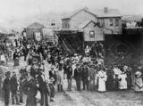 Picture of / about 'Brisbane' Queensland - Sunday School procession in lower Albert Street, Brisbane, ca. 1886