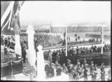 Picture relating to Parliament House - titled 'Royal Visit, May 1927 - Crowds and Army Band at the front steps of Old Parliament House from the east.'