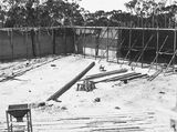 Picture relating to Black Mountain - titled 'Black Mountain Reservoir, under construction. Form work and reinforcement for concreting.'