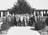 Picture of / about 'Canberra' the Australian Capital Territory - Second Conference of 65th District of Rotary. Delegates outside Hotel Canberra.