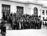 Picture relating to Parliament House - titled 'Empire Parliamentary Association delegates on the steps of Old Parliament House'