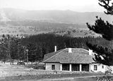 Picture relating to Mount Stromlo - titled 'Pine plantation from Mount Stromlo. Observatory home in foreground.'