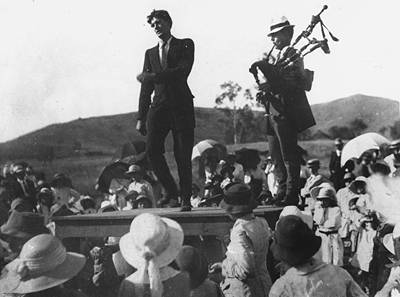 Picture of / about 'Mount Morgan' Queensland - Irish dancer accompanied by a piper, Mount Morgan
