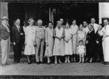 Picture relating to Charleville - titled 'German aviatrix Elly Beinhom pictured with Charleville personalities outside Corones Hotel, 1934'