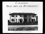 Picture of / about 'Reid' the Australian Capital Territory - Copy of photo showing a Canberra semi detached house [Booroondara St Reid] entitled 'Houses which are monstrosities' being built by the Federal Capital Commission