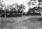 Picture relating to Ainslie - titled 'Workmen's huts near the foot of Mt Ainslie'