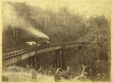Picture relating to Toowoomba - titled 'Locomotive, coal wagon and carriage on the bridge in Main Range'