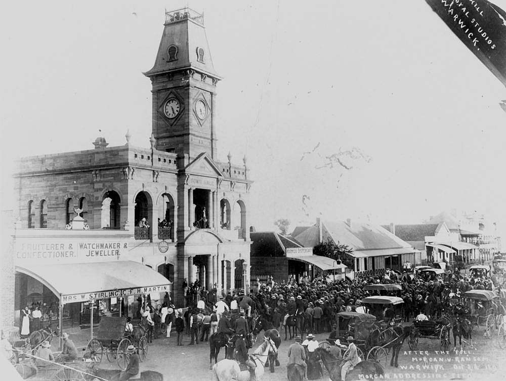 Picture of / about 'Warwick' Queensland - Crowds outside the Warwick Town Hall after the elections, Morgan v. Ransom, 1898