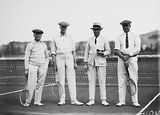 Picture relating to Page - titled 'Mr Latham, Sir Littleton Groom, Dr Earle Page and Sir John Butters in tennis gear at the opening of the new Canberra Tennis Association Central Courts, Manuka.'