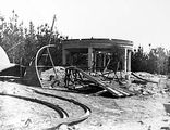 Picture relating to Mount Stromlo Observatory - titled 'Construction, Mount Stromlo Observatory showing partially built observatory dome.'