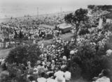 Picture relating to Suttons Beach - titled 'Spectators watching the Sun Girl Quest beauty contest at Suttons Beach, 1953'