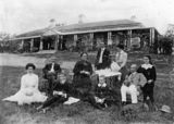 Picture relating to Ipswich - titled 'Tea on the lawn in front of Claremont, the Wilson residence at Ipswich, 1910'