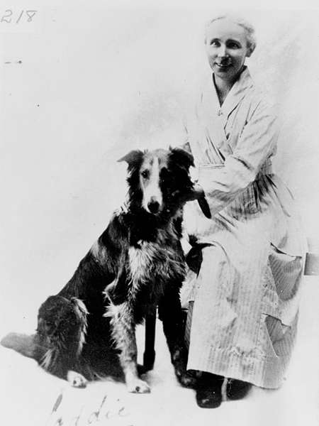 Picture of / about 'Marburg' Queensland - Mrs Jane Cosgrove and her dog, Laddie at Marburg, 1920