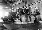 Picture relating to Kingston - titled 'Kingston Power Station. BTH 1500 kW turbo alternator with two Bellis and Morcomb 600 kW 3 cylinder triple expansion steam engines with alternators.'
