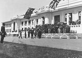 Picture relating to Parliament House - titled 'Armistice Day - Official Party entering Old Parliament House steps with Spectators'