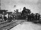 Picture relating to Grandchester - titled 'Railway workers at Grandchester Railway Station'