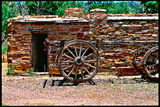 Picture relating to Wilpena Pound - titled 'Old Wagon and Stone  Shed Circa 1830's'