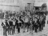Picture of / about 'Brisbane' Queensland - Group of men gathered outside the Protestant Hall, Brisbane, Queensland, 1889