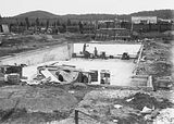 Picture relating to Manuka - titled 'Manuka swimming pool under construction, wall tiles being installed, Manuka Circle, Kingston.'