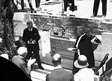 Picture relating to Forrest - titled 'Govenor General, Lord Stonehaven and Moderator General, The Right Rev. Alexander Crow at the Foundation Stone laying ceremony at Presbyterian Church of St Andrew, State Circle, Forrest.'