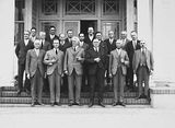 Picture relating to Acton - titled 'Federal Capital Commission engineers including Sir John Butters in front of the Acton Offices'
