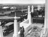 Picture relating to Parliament House - titled 'Royal Visit, May 1927 - Front of Old Parliament House probably during a rehearsal and assembly of the viewing stands.'
