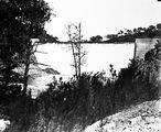 Picture relating to Cotter Dam - titled 'Cotter Dam wall and stilling pond, below spillway.'
