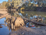 Picture relating to Narrandera - titled 'Narrandera Ship Wreck Paddle Steamer Wagga Wagga'