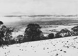 Picture relating to Kingston - titled 'Snow fall - View from Red Hill over Collins Park, Manuka and Kingston to Duntroon .'