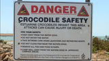 Picture relating to Port Hedland - titled 'Crocodile warning sign Port Hedland'