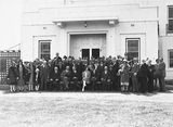 Picture relating to Yarralumla - titled '15th Australian Provincial Press Conference - Delegates in front of the private entrance of Government House, Yarralumla, the residence of the Govenor- General.'