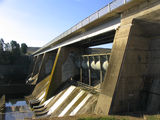 Picture relating to Lake Burley Griffin - titled 'Scriviner Dam showing spillway hydraulic rams'